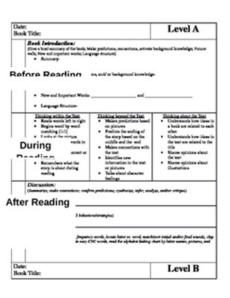 guided reading lesson plan template fountas and pinnell common guided reading lesson plan templates for guided reading levels a m