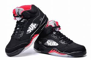 James Size Chart Air Jordan 5 Sup Women Basketball Shoes Black Red Original