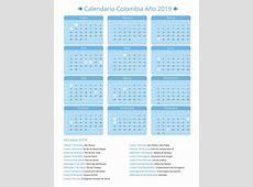 Calendario Festivos Colombia 2019 takvim kalender HD