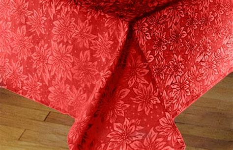 bright red christmas poinsettia damask table cloth
