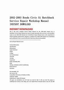 2002 2003 Honda Civic Si Hatchback Service Repair Workshop