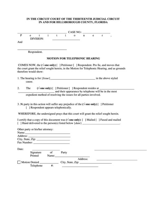 fillable motion  telephonic hearing form printable