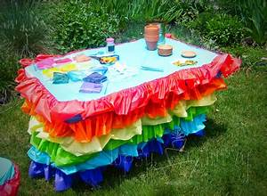 Rainbow birthday party ruffled tablecloth