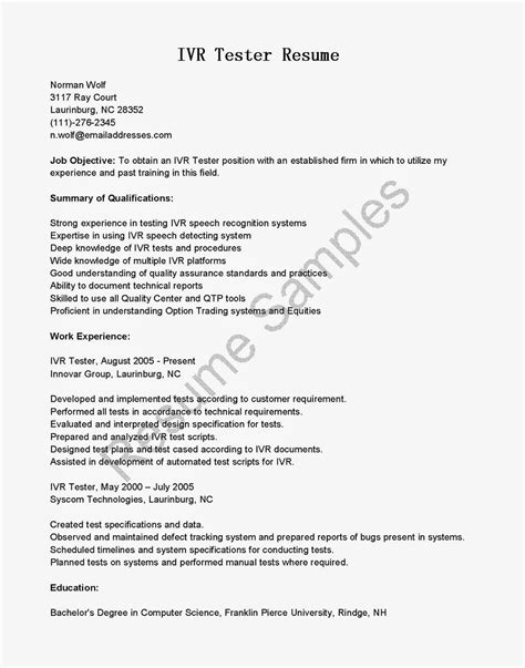Resume Samples: IVR Tester Resume Sample