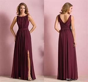 burgundy chiffon elegant long bridesmaid dresses bateau With gala wedding dress