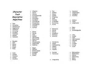 Character Trait Descriptive Adjectives