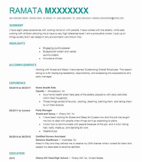 Home Health Resume by Home Health Aide Objectives Resume Objective Livecareer