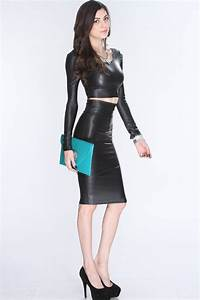 Black Faux Leather Long Sleeve 2Pc Sexy Outfit | Style... | Pinterest | Black faux leather Sexy ...
