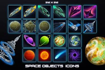 Sci Fi Icons Space Objects 2d Items