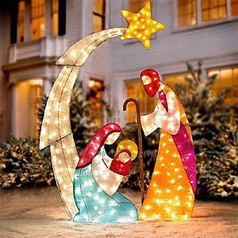 lighted outdoor nativity set outdoor christmas decor ideas home designing