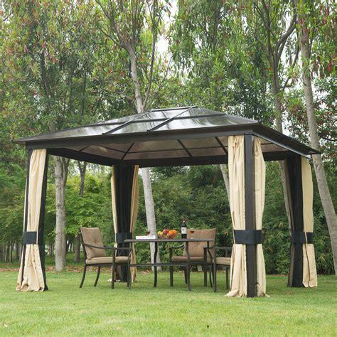 hardtop gazebo outdoor patio canopy  mesh  curtains