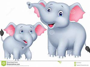 Cartoon Mother And Baby Elephant Stock Vector - Image ...
