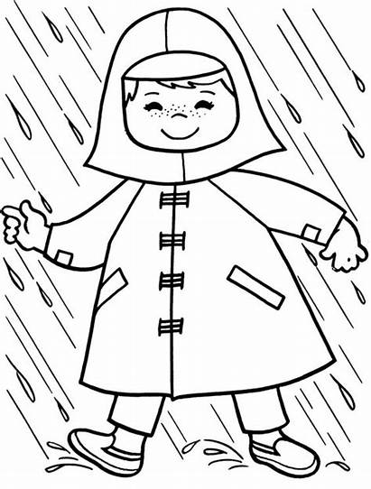 Raincoat Rain Coat Colouring Pages Coloring Template