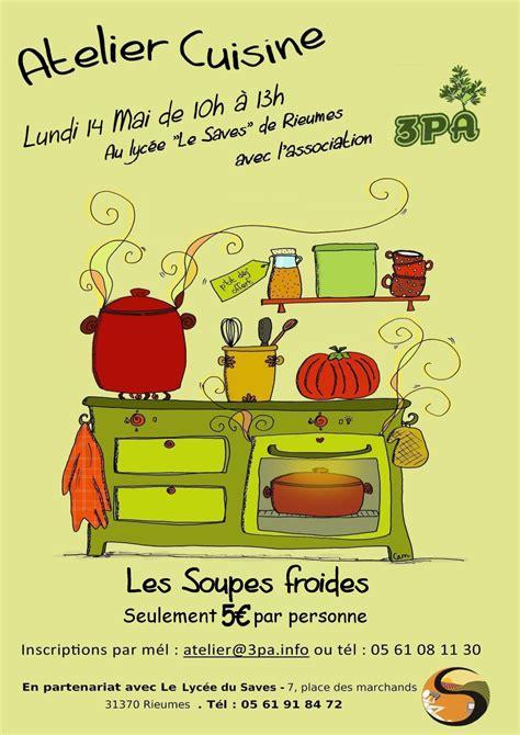 affiche atelier cuisine atelier atelier cuisine les légumes solidaires 14 mai