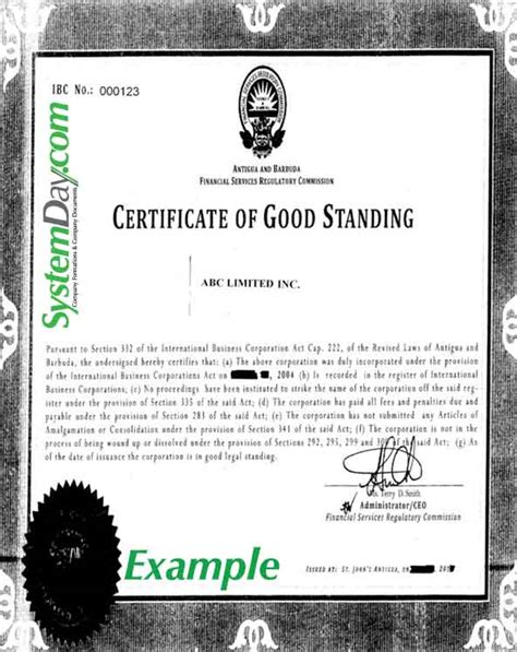 Certificate Of Good Standing by Certificate Of Good Standing Samples