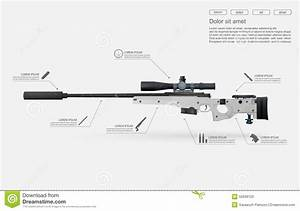 sniper rifle vector stock vector illustration of bullet With rifle stock template