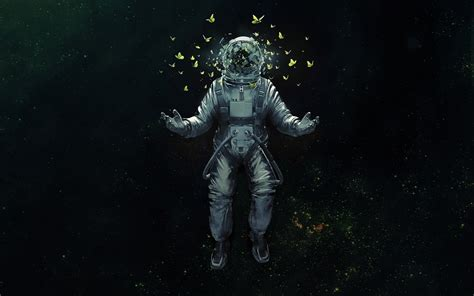astronaut in space drawing wallpaper astronaut space space suit butterflies space