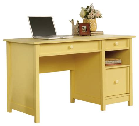 cottage window treatments sauder original cottage desk in melon yellow finish
