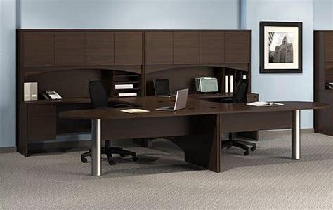 two person peninsula desk mayline brighton 2 person workstation laminate u shape 2