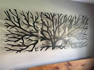metal wall art decor 3d sculpture 3 piece tree brunch With wall decor paintings