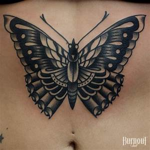 Traditional Moth Tattoo Black And Grey