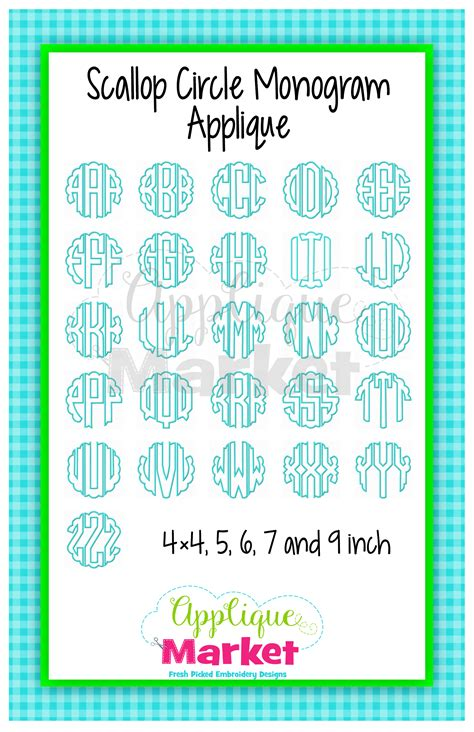 scallop circle monogram applique design