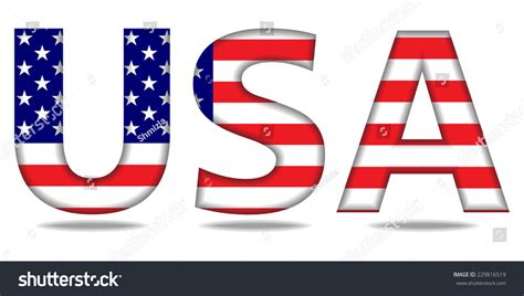 Letter Usa by Usa Letters American Flag Texture Vector Stock Vector