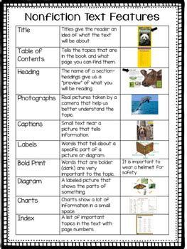 nonfiction text features chart by elementary after tpt