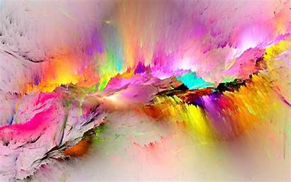 Abstract Colorful Rainbow Bright Paint Colors Paintings