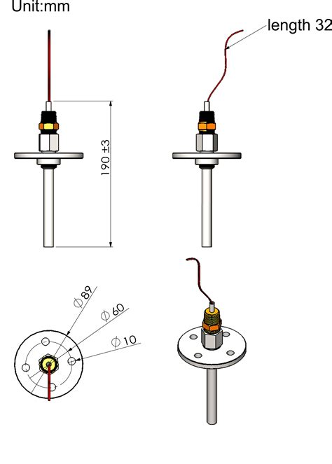 Boiler stack temperature sensor and thermowell, 1k Pt ...