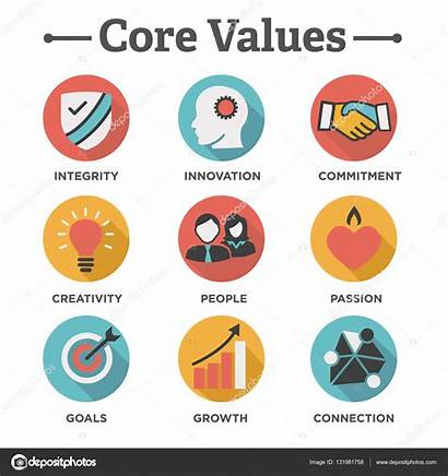 Values Core Company Icons Illustration Vector Infographics