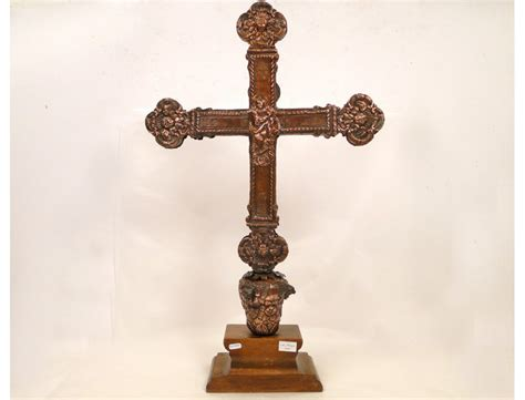 cross embossed copper cherubs procession jesus virgin mary