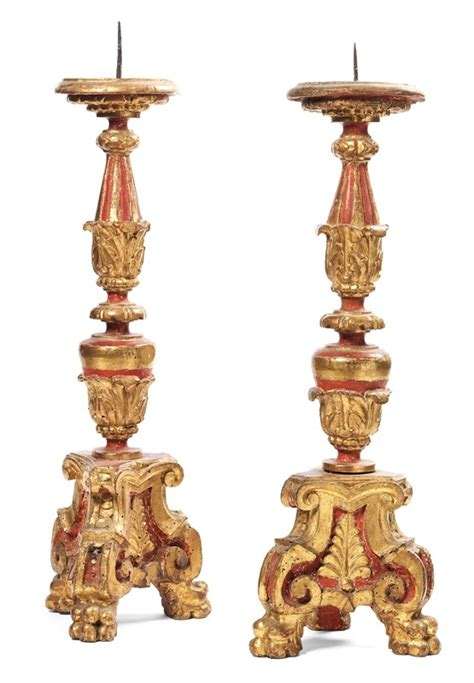 candelieri antichi coppia di candelieri antichi in legno intagliato dorato e