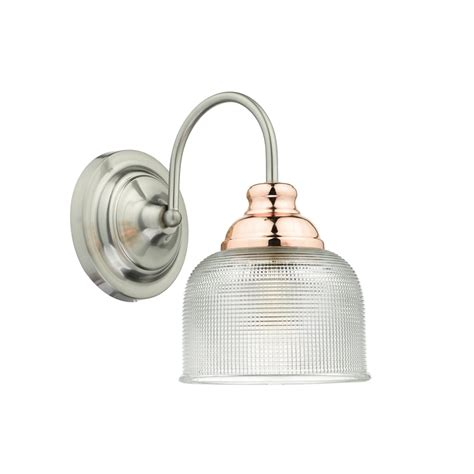 dar lighting wharfdale single light wall fitting in satin chrome finish with copper detail