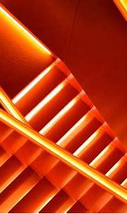 A stairway illuminated by bright orange neons | Orange ...
