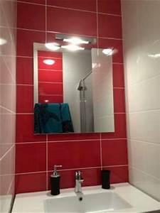 salle de bain rouge et blanc With salle de bain rouge et blanche