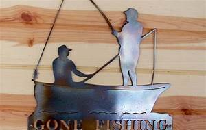 Gone Fishing Metal Sign - Waterjet Plus Waterjet Plus