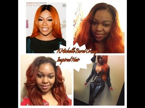 kmichelle burnt orange inspired hair cut styled