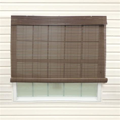 Diy Roll Up Patio Shades Chestnut Exterior Roll Up Patio Sun Shade With Valance 96 In W X 84 In L 0326025 The Home