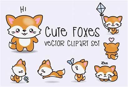 Kawaii Clipart Vector Foxes Premium Clip Fox