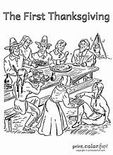 Thanksgiving Coloring Pages Pilgrims Adults Drawing Native Americans Adult Cartoon Happy Printables Dinner Events Fun Para sketch template