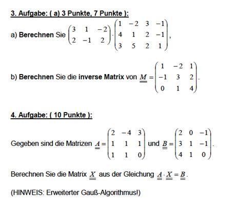 matrix und inverse matrix berechnen ist aufgabe