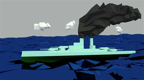 My Bayern-class battleship on the ocean : low_poly