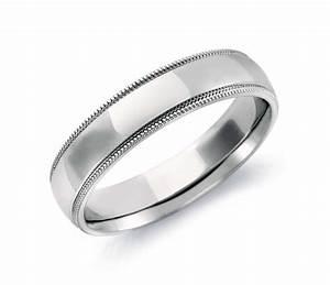 Milgrain Comfort Fit Wedding Ring In 14k White Gold 5mm