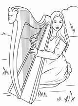Harp Coloring Celtic Playing Ireland Drawings Drawing David Printable Symbols Supercoloring Irish Harpe Mandala Symbol Celtique Angel Printables Celts Play sketch template