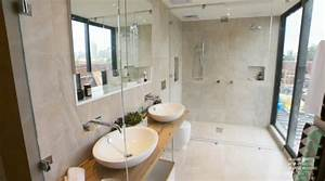 The block 2014 master suites bathroom reveal the block 2017 for Putting a tv in the bathroom