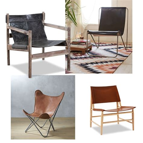 leather sling chair living room idea in with white