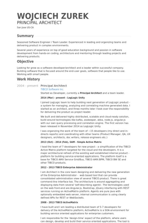 principal architect resume sles visualcv resume