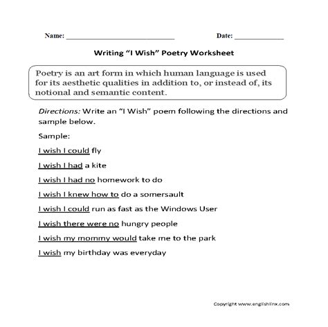 writing worksheets poetry writing worksheets
