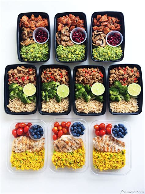 meal prep 3 different kinds of chicken and rice fit